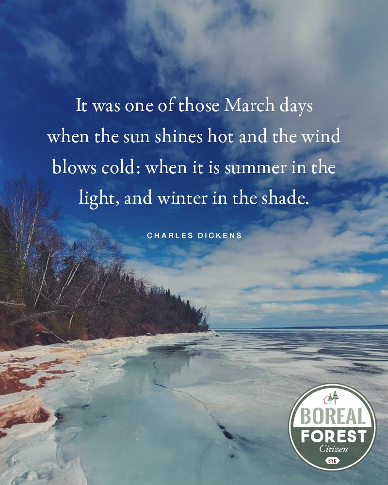 It was one of those March days when the sun shines hot and the wind blows cold: when it is summer in the light, and winter in the shade. — Charles Dickens